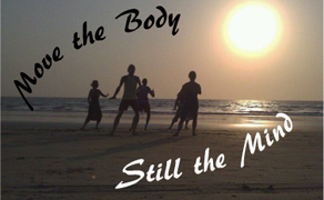Move the Body Still the Mind moving meditation class logo with photo of people performing Tai Chi on a beach and silhouetted by the sun